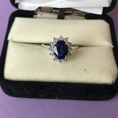 Kate Middleton Ring 10K White Gold Diamonds And Sapphire