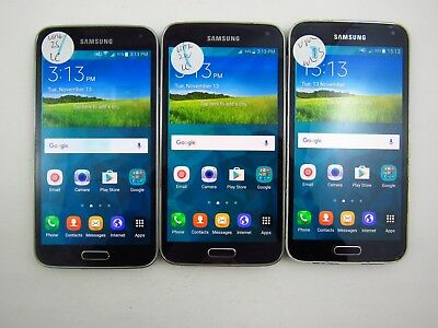 Lot of 3 Samsung Galaxy S5 G900H Unknown Carrier Check IMEI Poor Cond 5-1581