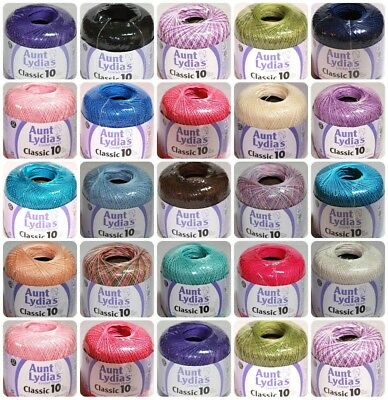 AUNT LYDIAS SIZE 10 CROCHET THREAD ASSORTED COLORS From Coats - Clark ALL NEW