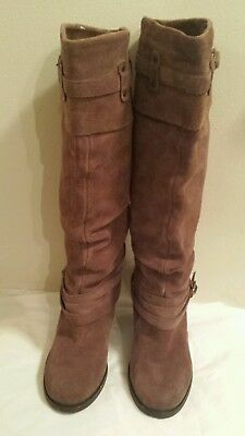 Steve Madden Evvie Knee High Boots Tobacco Suede Size 7-5