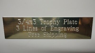 34 x 3 Gold Aluminum Trophy Plate Plaque Engraved Trophies