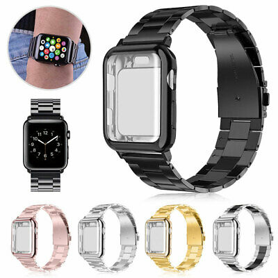 Stainless Steel Band Strap - Case Cover For Apple Watch Series 4 3 2 40mm 44mm