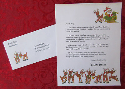 Personalized Letter From Santa Claus on Reindeer - Santa Theme Paper
