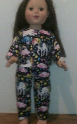 18 doll clothes-fits American Girl Boy  My Life-Pajamas-Flannel-Unicorns