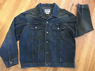 Hollister Co- Stonewashed Denim Jean Jacket Coat with Metal Buttons Mens Size XL