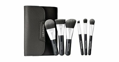SEPHORA COLLECTION Deluxe Charcoal Antibacterial Brush Set Mini NEW Auth 39