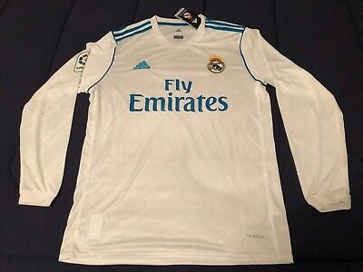 ADIDAS REAL MADRID LONG SLEEVE HOME JERSEY 201718 WITH LA LIGA PATCH
