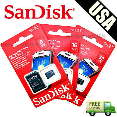 SanDisk 8GB 16GB 32GB Micro SD HC Class 4 TF Flash SDHC Memory Card w Adapter