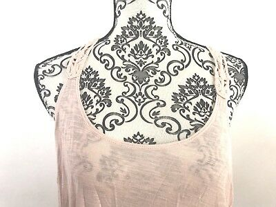 Forever 21 Juniors Size Large Pink Sleeveless Tank Top Crochet Racerback