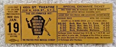 Vintage NYC Theatre Ticket How to Succeed in Business WO Really Trying