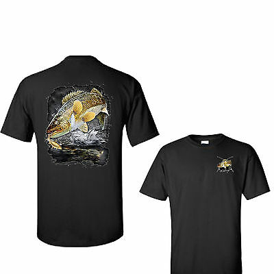 Jumping Walleye Pike Lake Fishing Fathers Day Tee T Shirt Gift New