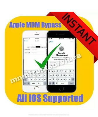 APPLE MDM REMOTE MANAGEMENT BYPASS iPHONE iPOD iPAD IOS 12-4-1 SUPPORTED