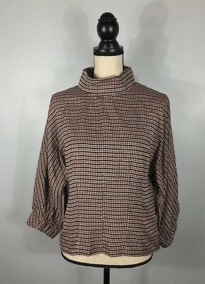NWT 70 ZARA Woman Red Checkered Blouse Top   Size M