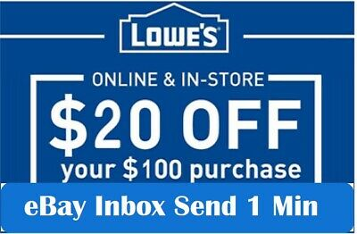 3x THREE Lowes 20 OFF 100Coupons-InStore and Online -Fast-1-min-SEND-
