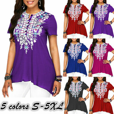 Women Short Sleeve T Shirts Baggy Pullover Button O Neck Shirts Tops Casual Tees