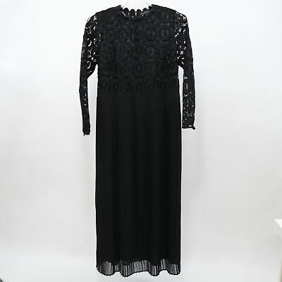 Eloquii Maxi Evening Dress Womens 16 Black Lace Pleated Skirt Long Sleeves