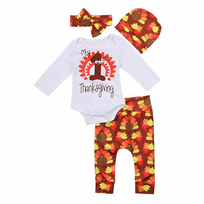 4PCS Newborn Baby Girl Outfits Clothes Set Romper-Long Pants-Hat-Heaband Costume