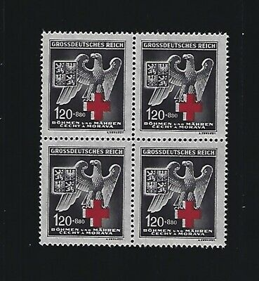 Third Reich  MNH Nazi Postage Stamp BLOCK  Red Cross  Nazi Eagle  1943 BaM