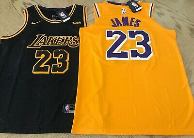 New Lebron James Jersey Los Angeles Lakers 23 Mens Gold  Black USA S-XXL