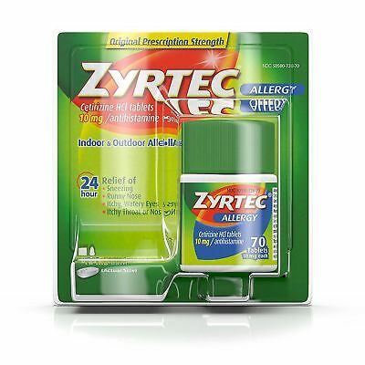 Zyrtec Allergy 24 Hour 10 MG Tablets 70 Ct