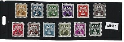 Complete MNH 1943 Nazi Swastika stamp set  12 MNH Third Reich stamps  BaM WWII