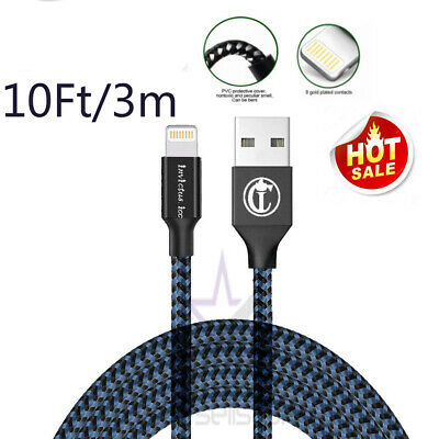 10FT3M For iPhone 6 iPhone 7 Plus 8 X USB Charger Cable Charging Data SYNC Cord