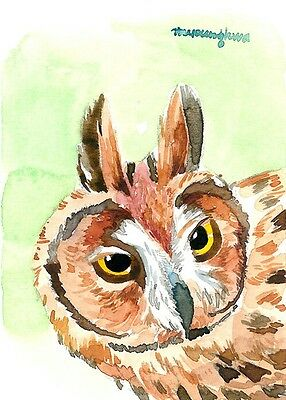 ACEO Limited Edition of watercolor- Owl Gift for bird lovers