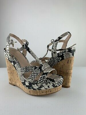 NEW Womens ALDO Nydaycia Wedge Sandals Natural Print Size 6-5 B SZ 6 12 B