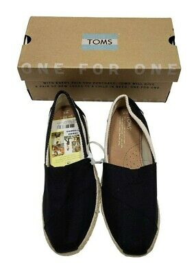 TOMS Womens Classics Alpargata Slip-on Shoes Flats Canvas Black Stripes Size 6