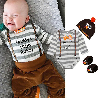 USA Thanksgiving Infant Baby Boy Bodysuit Romper- Hat-Socks Clothes Outfit Sets