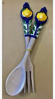 Vietri Pottery-Fork And Spoon Olive Wood-MadePainted by hand in Italy
