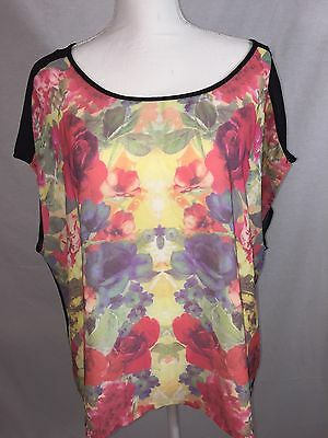 Womens Top 3X Wet Seal Floral Rose Black Semi Sheer Sleeveless Plus Size NEW