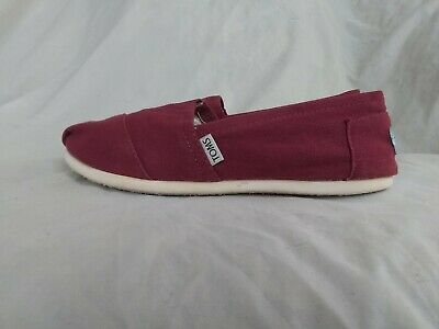 Womens Toms Burgundy Canvas Slip Ons Shoes Size W9