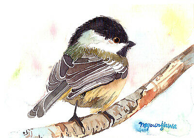 ACEO Limited Edition-Feathered friend Art print of watercolor painting