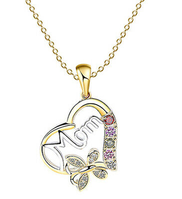 Mothers Day Gift Womens Heart Shaped Hollow MOM Design Pendant Necklace Jewelry