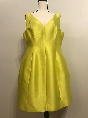 Kate Spade Structured Cocktail Mini Dress Silk Blend  Chartreuse Size 14 NWT