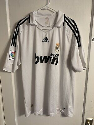 Authentic Adidas climacool real madrid soccer jersey XL white bwin football B3