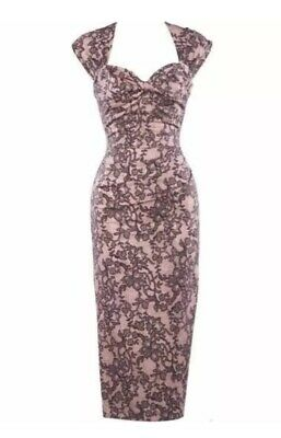 Stop Staring Bodycon Dress  Love -03 Pink Lace Print Size 14 - EUC