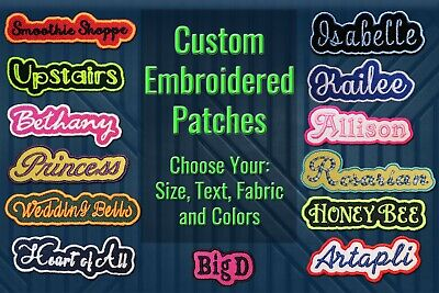 Custom Embroidered Patch Personalized Name or Text Iron OnSew On with Outline B