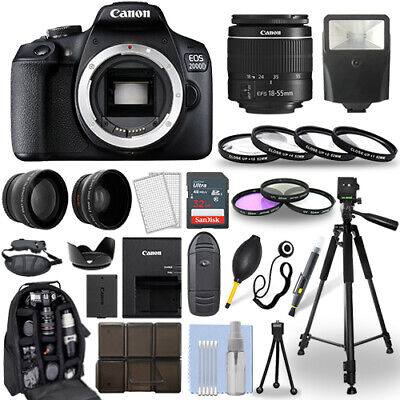 Canon EOS 2000D  Rebel T7 DSLR Camera - 18-55mm Lens- 30 Piece Accessory Bundle