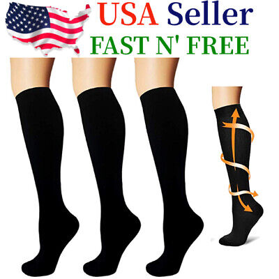 3 Pairs Compression Socks Knee High 15-20mmHg Graduated Support Mens Womens