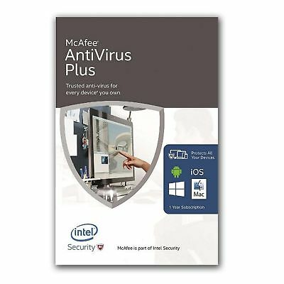 McAfee Antivirus Plus 2020 1 Year Unlimited Devices PC Phone Tablet Android