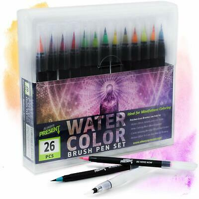 Watercolor Brush Pens Set 25pcs Water Paint Markers Coloring Drawing Calligraphy