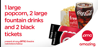 2 AMC Movie Tickets 2 Large Drinks - 1 Large Popcorn- eDelivery