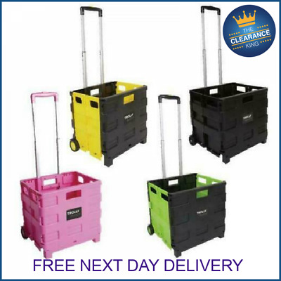 Folding Boot Cart Shopping Trolley Fold Up Storage Box Wheels Crate Fordable