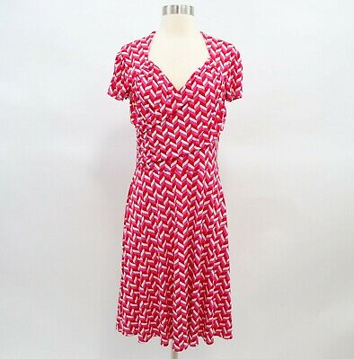Leota Faux Wrap Dress Womens M Red Pink White Jersey Stretch Short Sleeve