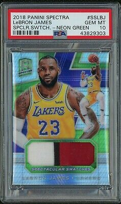 2018-19 LEBRON JAMES PANINI SPECTRA GREEN 3 COLOR PATCH 2325 JERSEY  PSA 10