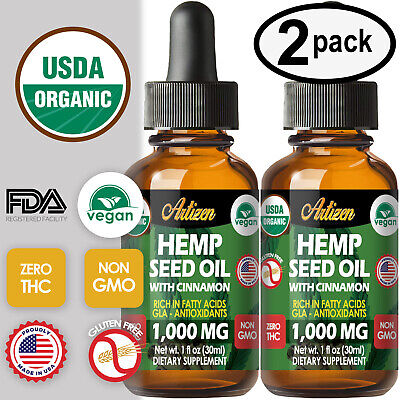 Cinnamon Hemp Oil Drops for Pain Relief Stress Sleep PURE - ORGANIC 1000mg