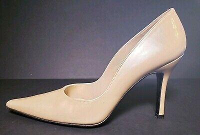 STUART WEITZMAN Womens Point Toe Heels Patent Gold Tan Lether Shoes Size 8