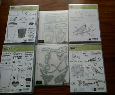 Lot of 4 Stampin Up Stamps 2 have matching Dies Best Bird Coffee Cafe Merry